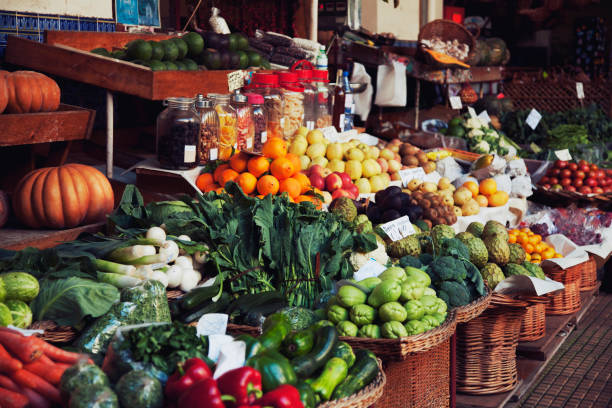 fruits and vegetables at the farmers market - organic stock pictures, royalty-free photos & images