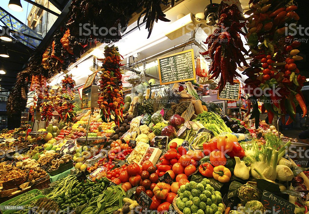 fruits and vegetables background, central market at Barselona stock photo