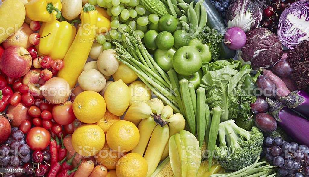 fruits and vegetables background royalty-free stock photo