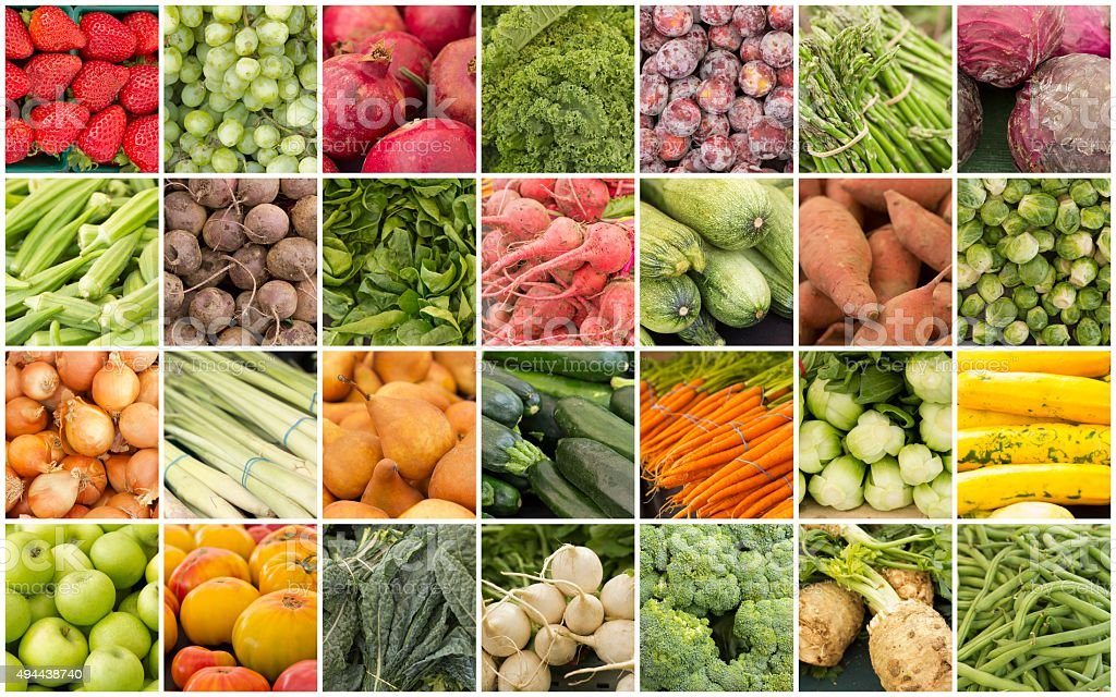 Fruits and Vegetables Collage stock photo