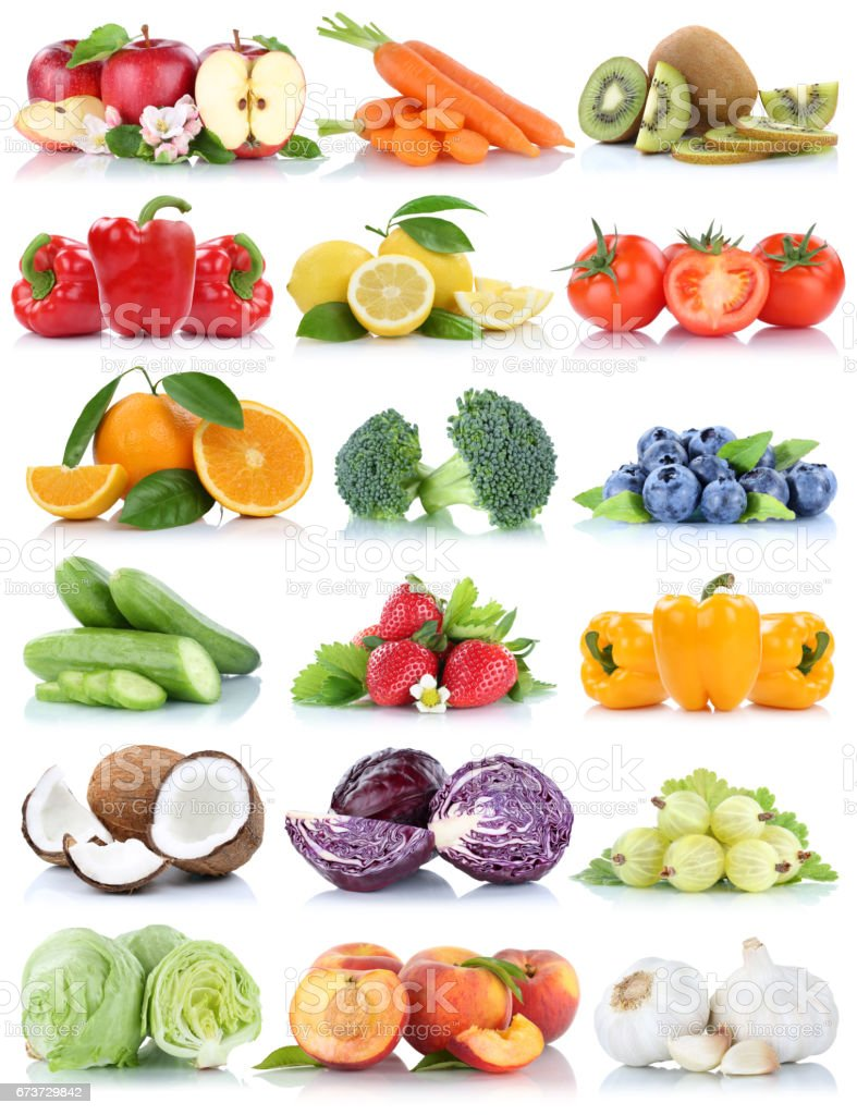Fruits and vegetables collection isolated orange apple lettuce tomatoes fresh photo libre de droits