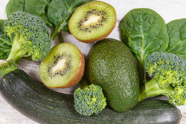 Fruits and vegetables containing vitamin K, potassium, natural minerals and dietary fiber stock photo