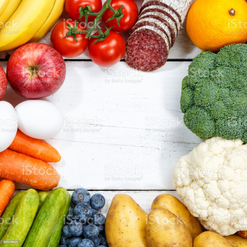 Fruits and vegetables food collection cooking frame square copyspace stock photo
