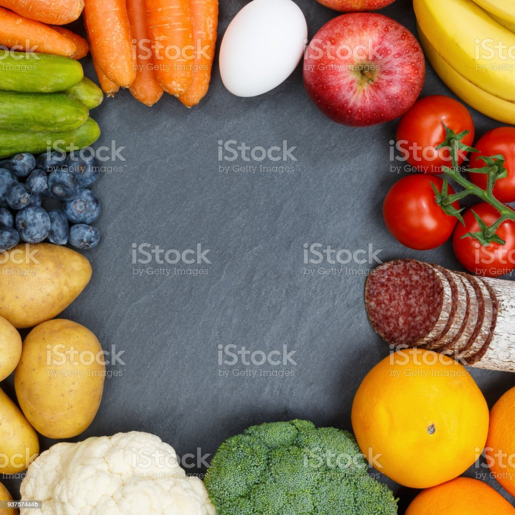 Fruits and vegetables food collection frame square slate copyspace stock photo