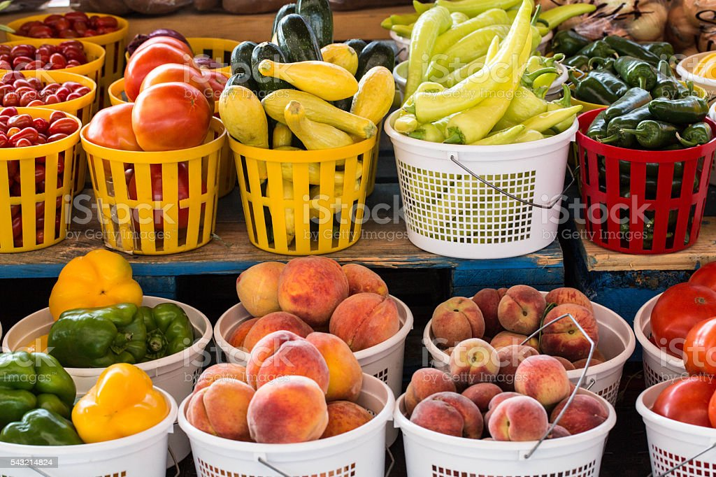 Fruits and Vegetables For Sale at Farmers Market stock photo