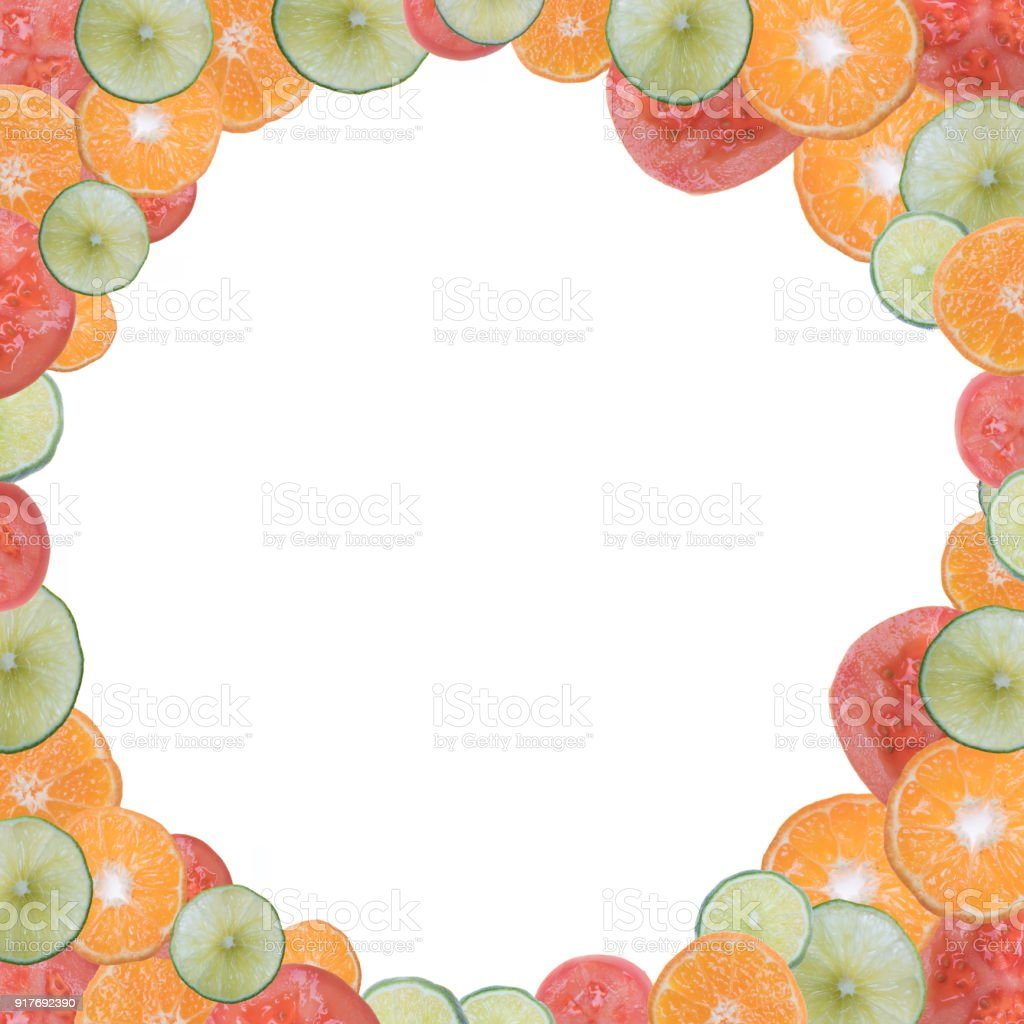 fruits and vegetables frame stock photo