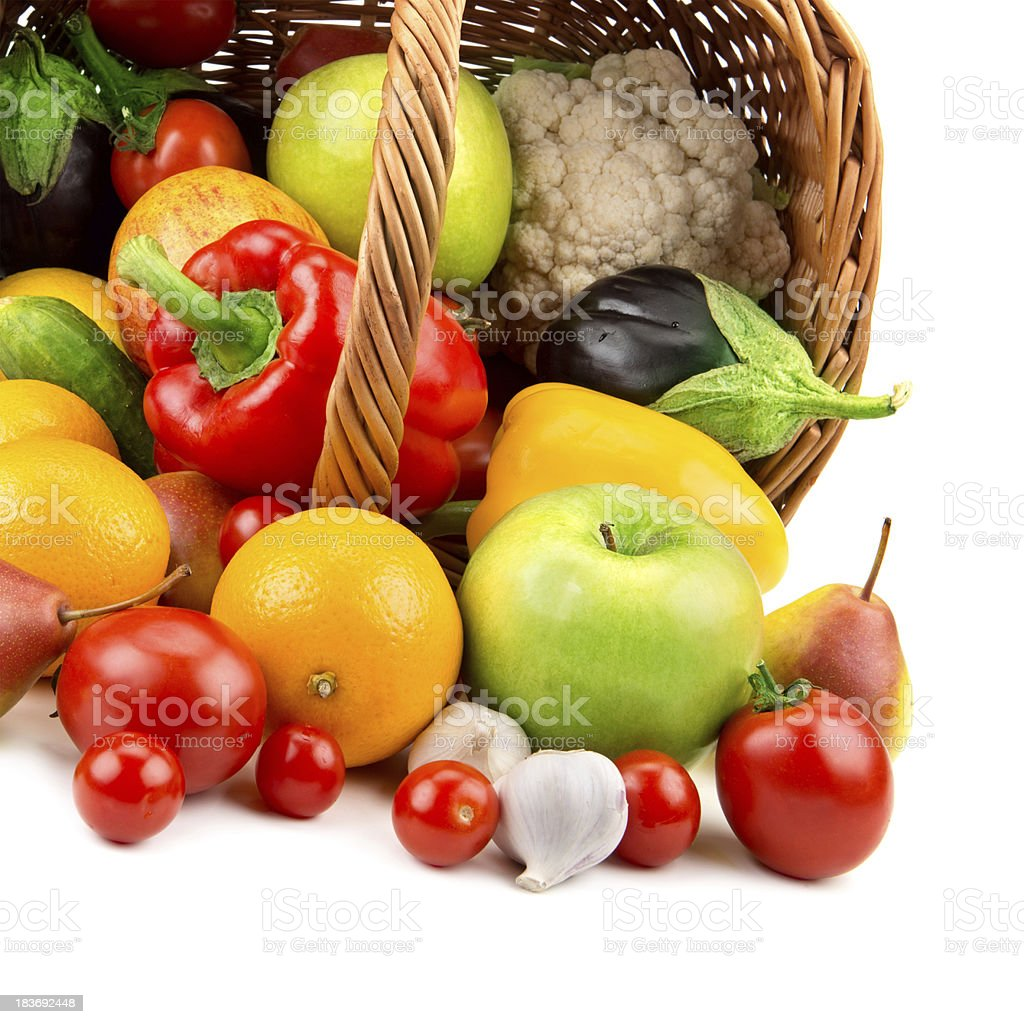 fruits and vegetables in a basket royalty-free stock photo