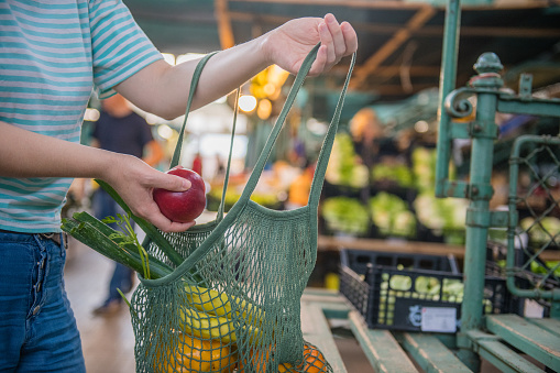 Fruits and Vegetables in a cotton mesh reusable bag, Zero Waste Shopping on Outdoors Market