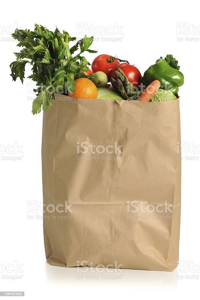 Fruits and Vegetables in Grocery Bag stock photo