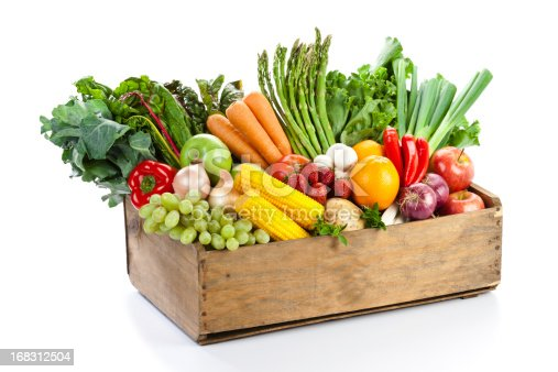 istock Fruits and vegetables in woodden crate isolated on white backdrop 168312504