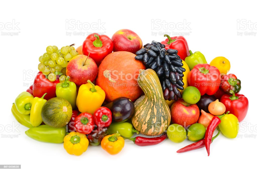 fruits and vegetables isolated on white background stock photo
