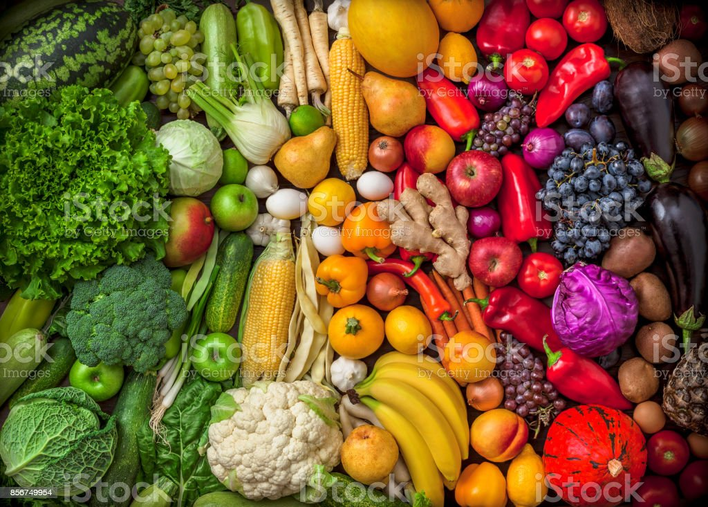 Fruits and vegetables large overhead colorful mix green to red royalty-free stock photo