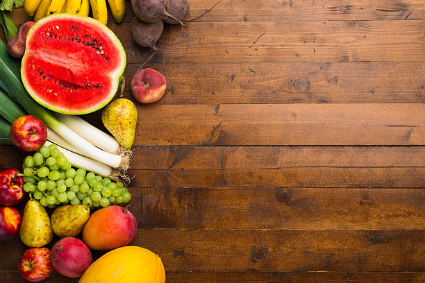 Fruits and vegetables on a table. stock photo