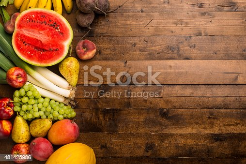 istock Fruits and vegetables on a table. 481425986