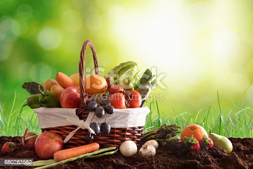 istock Fruits and vegetables on soil and green background 680283582