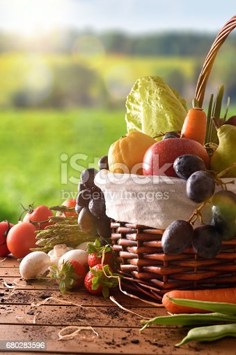 istock Fruits and vegetables on table and crop landscape background vertical 680283596