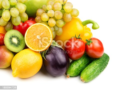 istock fruits and vegetables on white background 185594728
