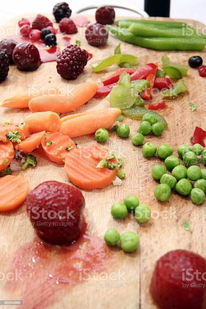 Fruits and vegetables plate. royalty-free stock photo