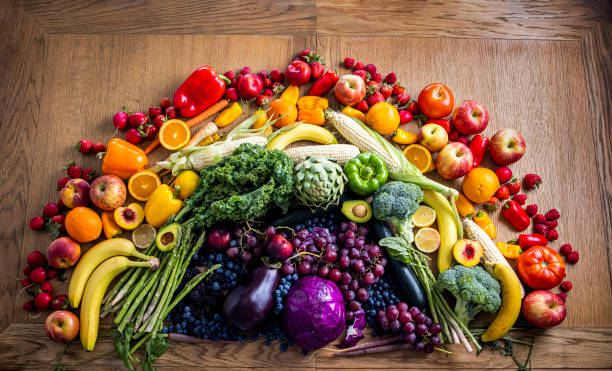 Fruits and Vegetables Rainbow stock photo