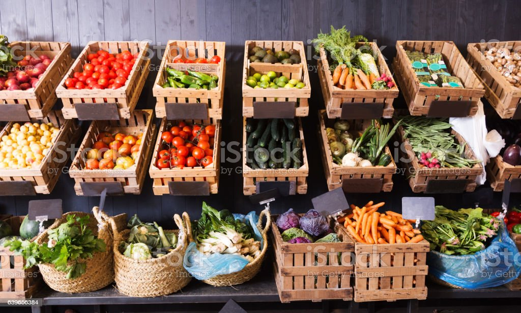 fruits and vegetables shop stock photo