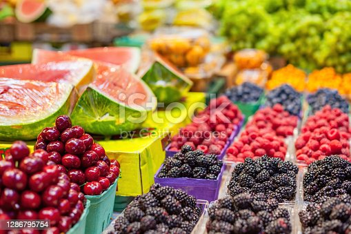 Fruit stand at the Granville Island Public Market in downtown Vancouver, BC, Canada