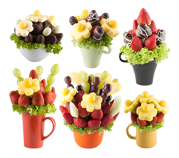 Fruits bouquets of flowers stock photo