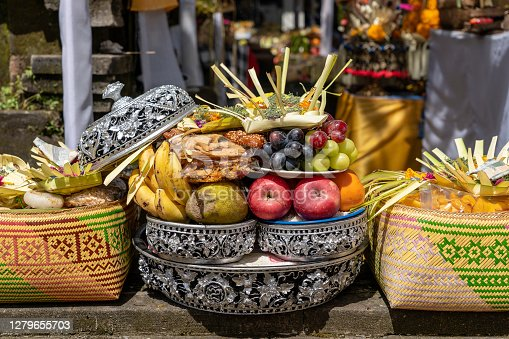 Fruits for balinese hindu offering ceremony on central street in Ubud, Island Bali, Indonesia . Close up