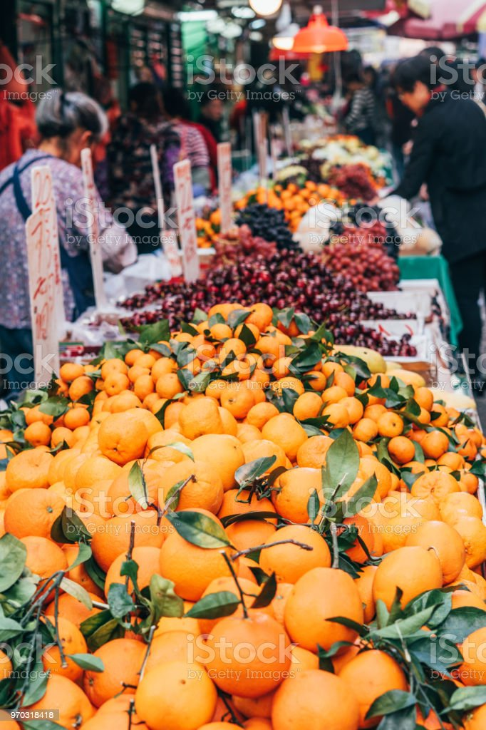 Fruits For Sale Street Market In Hong Kong Stock Photo