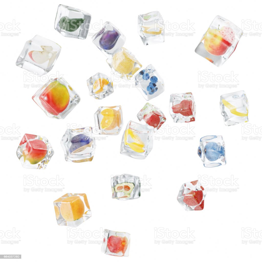 Fruits frozen in ice cube, ice cube in front view, single ice cube isolated on white background. 3d rendering stock photo