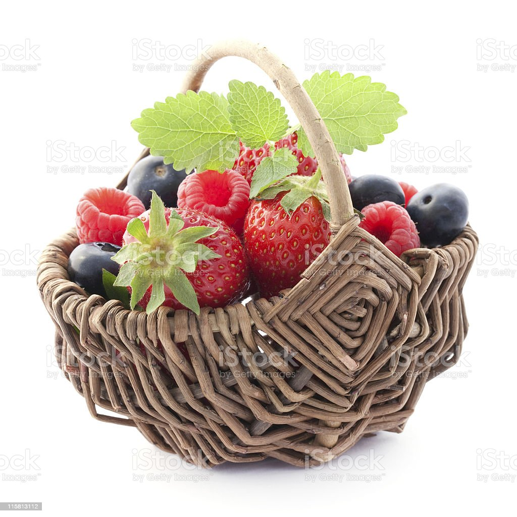 fruits in a basket royalty-free stock photo