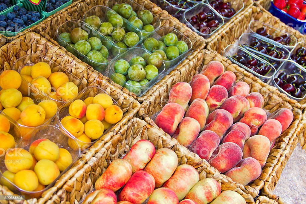 Fruits in a market stock photo