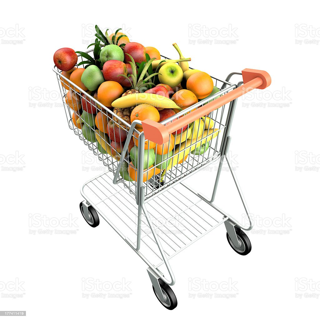 Fruits in a shopping cart stock photo