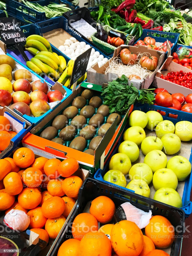 Fruits in a supermarket stock photo