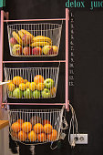 Fruits in baskets in a caffee