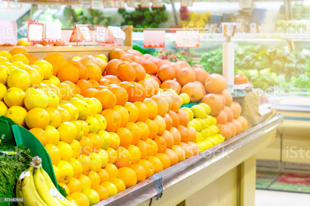 Fruits in grocery store. stock photo