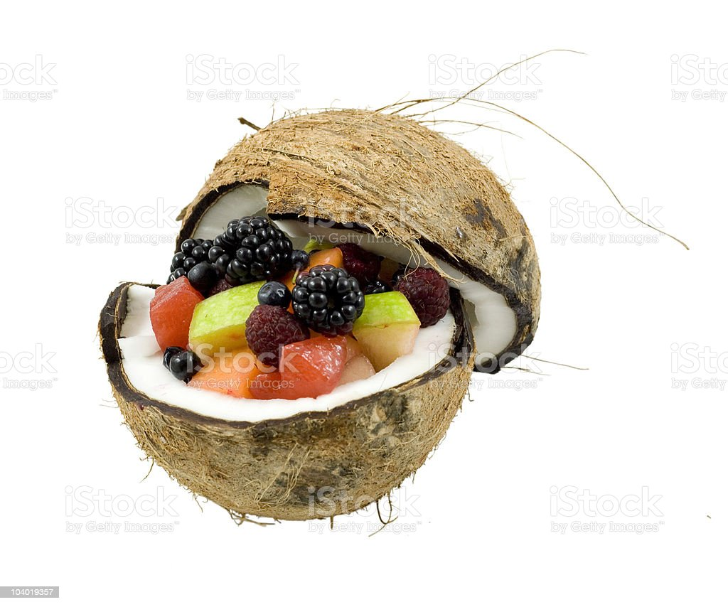 Fruits in half coconut royalty-free stock photo