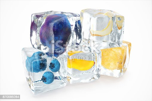 istock Fruits in ice cube isolated on white with depth of field effects. Ice cubes with fresh berries. Berries fruits frozen in ice cubes, 3D rendering 870585284