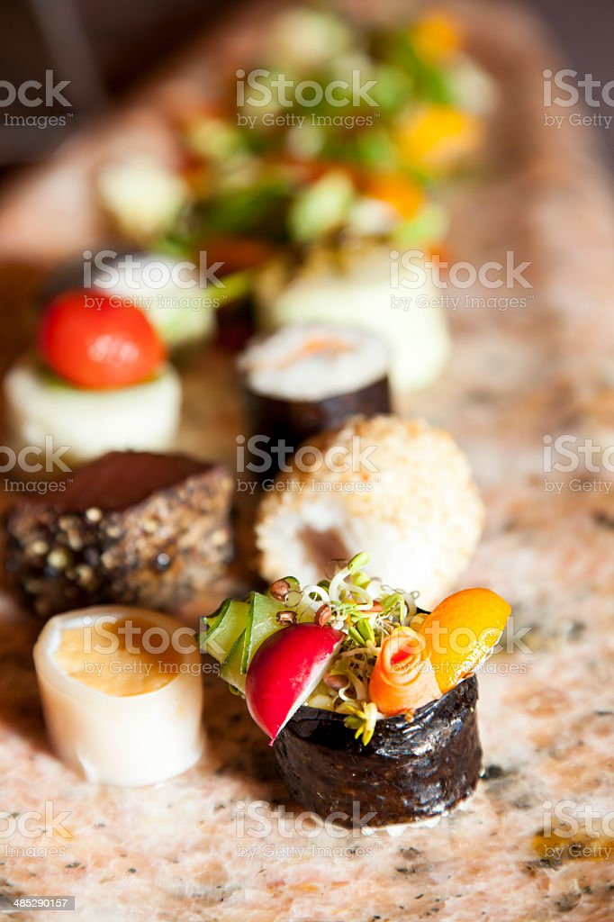 Fruits of the sea canapes decoration royalty-free stock photo