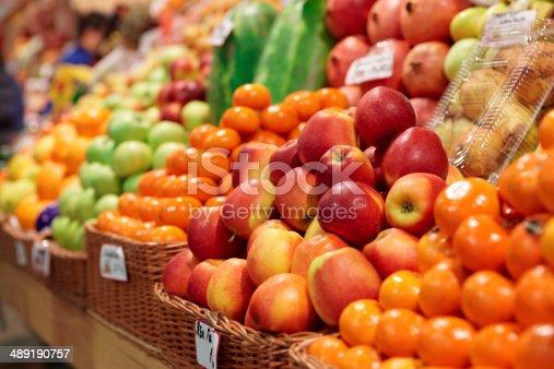 Fruits on a farm market shelf