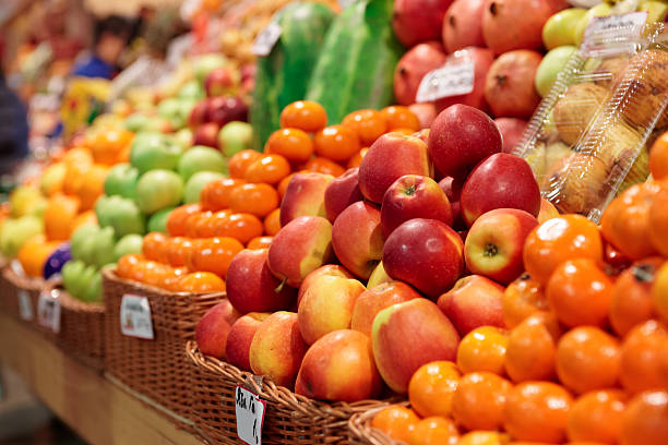 Fruits on a farm market stock photo