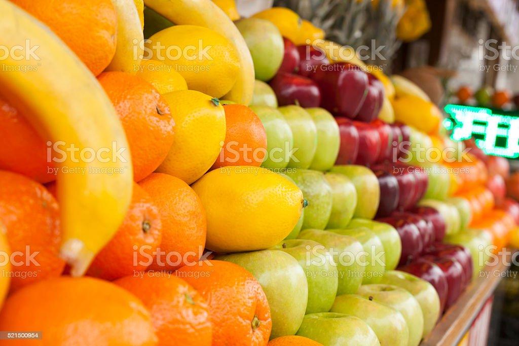 Fruits on a farm market stock photo