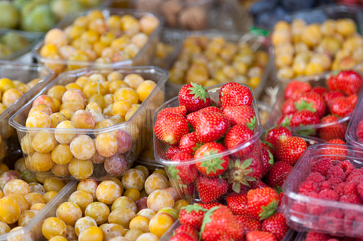 Fruits On A Market Stall Stock Photo - Download Image Now
