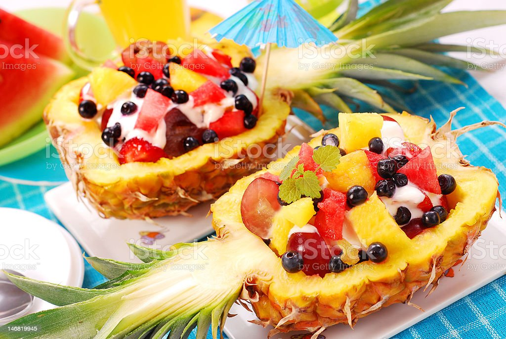 fruits salad in pineapple royalty-free stock photo