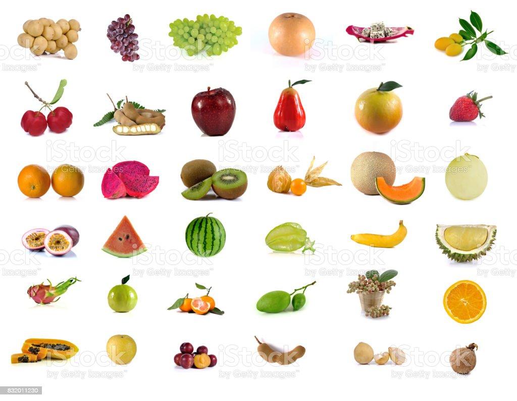 fruits set mix isolated on white background stock photo