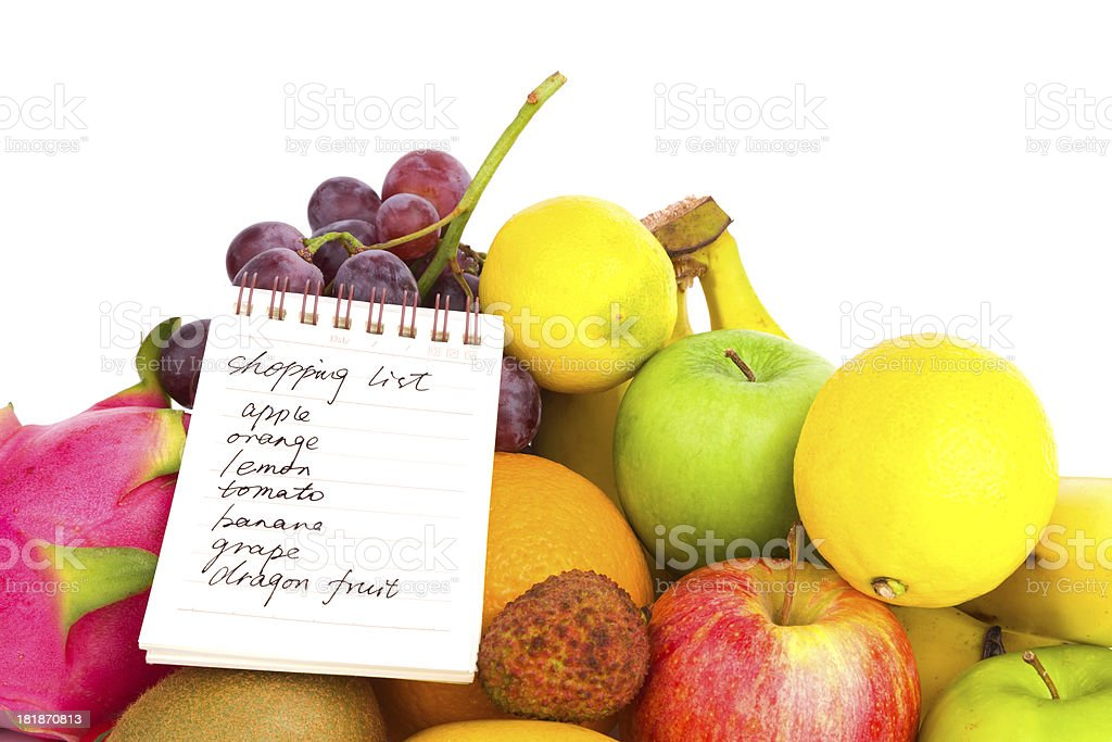 fruits variety and shopping list royalty-free stock photo