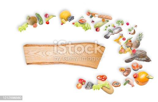 products(fish, salmon, flounder, halibut, pineapple, Apple, plum, coconut, zucchini, pomegranate, onion, garlic, pepper, Mandarin, grapes, radish) on a white background.