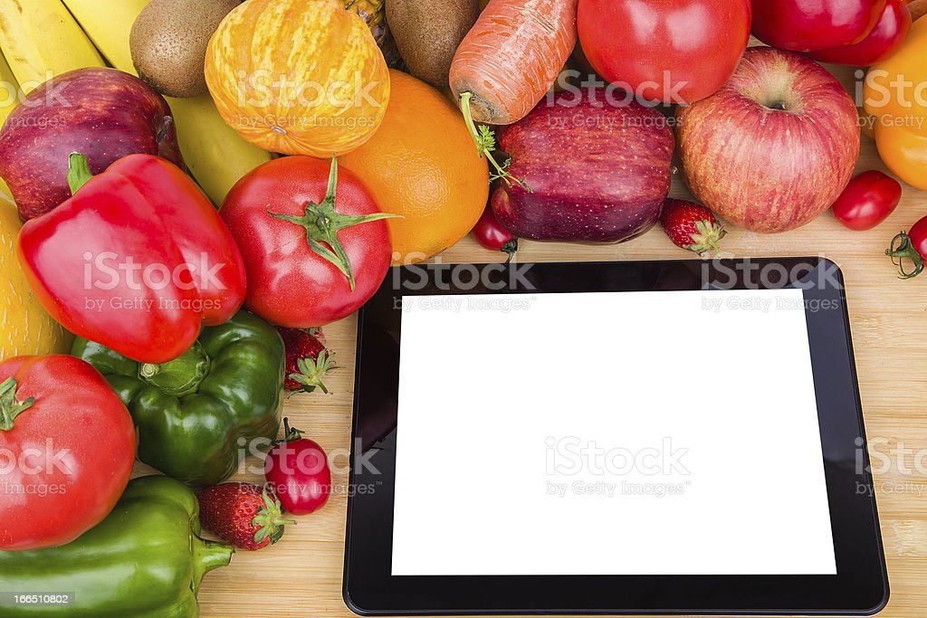 fruits Vegetables variety and digital tablet royalty-free stock photo