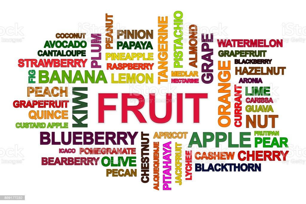 Fruits word cloud. stock photo
