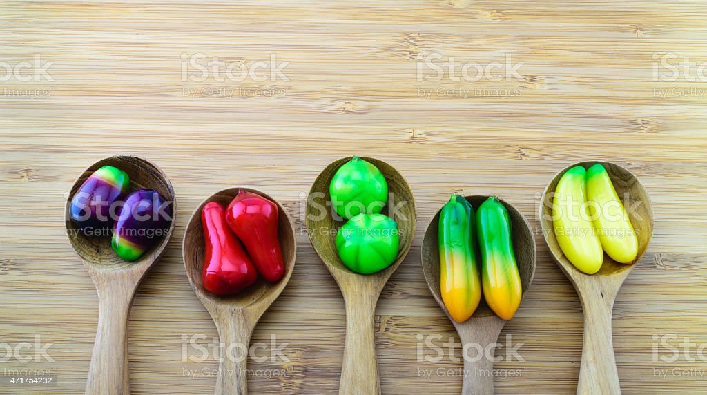 Fruit-shape desserts made of mung-bean flour with natural colouring stock photo