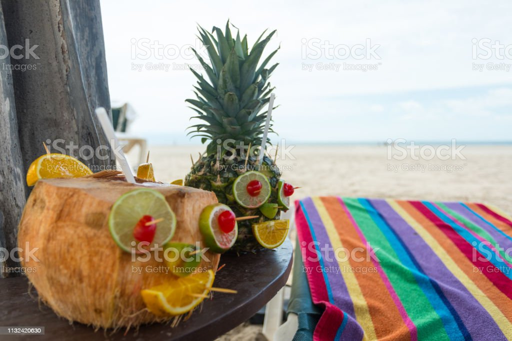 fruity coconut drinks stock photo